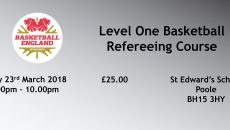 The final course that we are running over the coming few months is a Level 1 referees course.